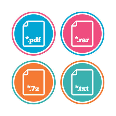 extensions: Download document icons. File extensions symbols. PDF, RAR, 7z and TXT signs. Colored circle buttons. Vector Illustration
