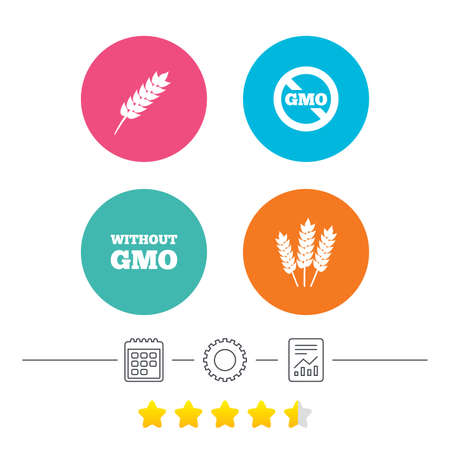 genetically modified crops: Agricultural icons. Gluten free or No gluten signs. Without Genetically modified food symbols. Calendar, cogwheel and report linear icons. Star vote ranking. Vector