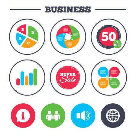Business Pie Chart Growth Graph Information Sign Group Of