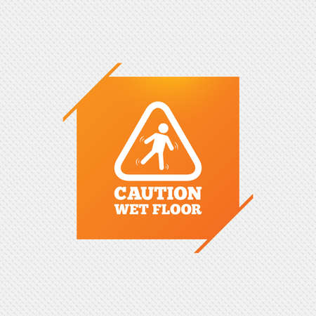 wet floor sign: Caution wet floor sign icon. Human falling triangle symbol. Orange square label on pattern. Vector