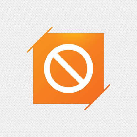 blacklist: Blacklist sign icon. User not allowed symbol. Orange square label on pattern. Vector