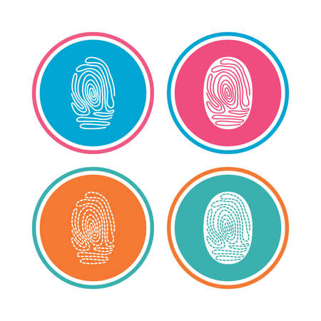 dabs: Fingerprint icons. Identification or authentication symbols. Biometric human dabs signs. Colored circle buttons. Vector Illustration