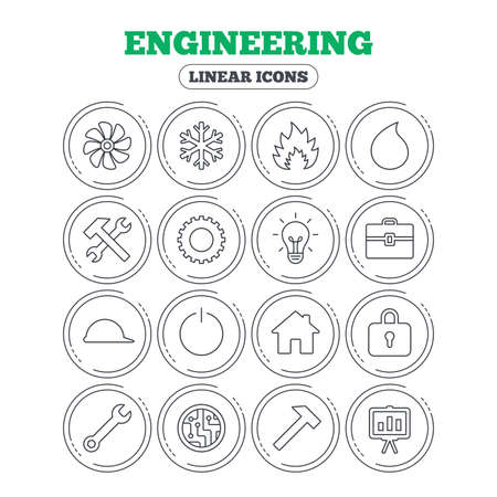 lamp outline: Engineering icons. Ventilation, heat and air conditioning symbols. Water supply, repair service and circuit board thin outline signs. Lamp, house and locker. Circle flat buttons with linear icons