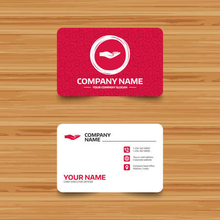 endowment: Business card template with texture. Donation hand sign icon. Charity or endowment symbol. Human helping hand palm. Phone, web and location icons. Visiting card  Vector