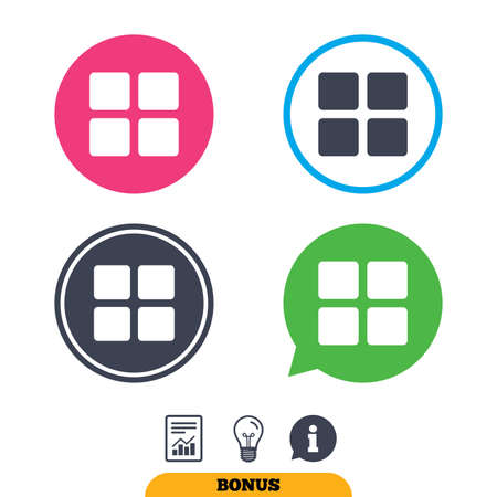 thumbnails: Thumbnails sign icon. Gallery view option symbol. Report document, information sign and light bulb icons. Vector Illustration