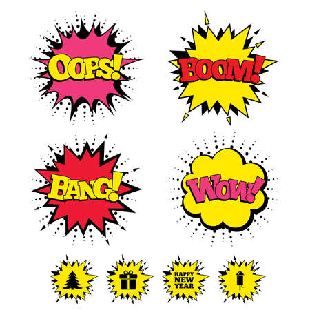 sound box: Comic Boom, Wow, Oops sound effects. Happy new year icon. Christmas tree and gift box signs. Fireworks rocket symbol. Speech bubbles in pop art. Vector Illustration