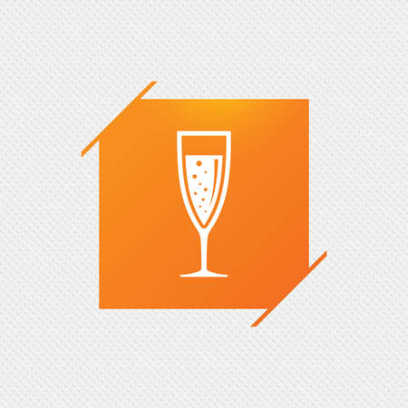 Glass of champagne sign icon. Sparkling wine with bubbles. Celebration or banquet alcohol drink symbol. Orange square label on pattern. Vector