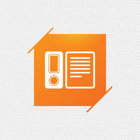bookkeeping: Document folder sign. Accounting binder symbol. Bookkeeping management. Orange square label on pattern. Vector