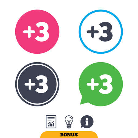 more information: Plus three sign. Add three symbol. Three more. Report document, information sign and light bulb icons. Vector Illustration