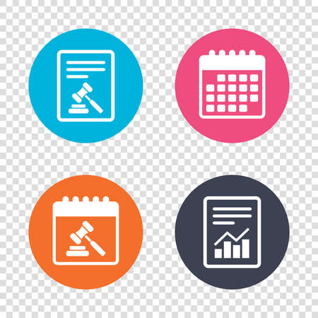 law report: Report document, calendar icons. Auction hammer icon. Law judge gavel symbol. Transparent background. Vector Illustration