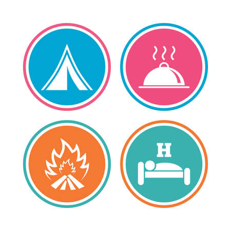 breakfast in bed: Hot food, sleep, camping tent and fire icons. Hotel or bed and breakfast. Road signs. Colored circle buttons. Vector
