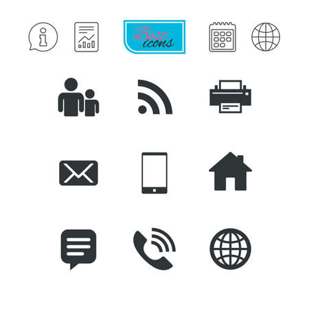 Contact, mail icons. Communication signs. E-mail, chat message and phone call symbols. Report document, calendar and information web icons. Vector