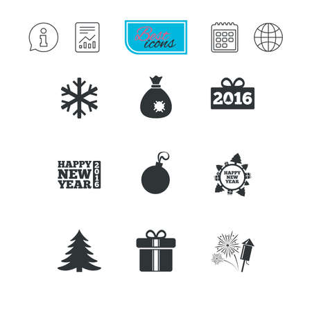 salut: Christmas, new year icons. Gift box, fireworks and snowflake signs. Santa bag, salut and decoration ball symbols. Report document, calendar and information web icons. Vector