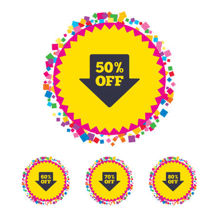 Web buttons with confetti pieces. Sale arrow tag icons. Discount special offer symbols. 50%, 60%, 70% and 80% percent off signs. Bright stylish design. Vector
