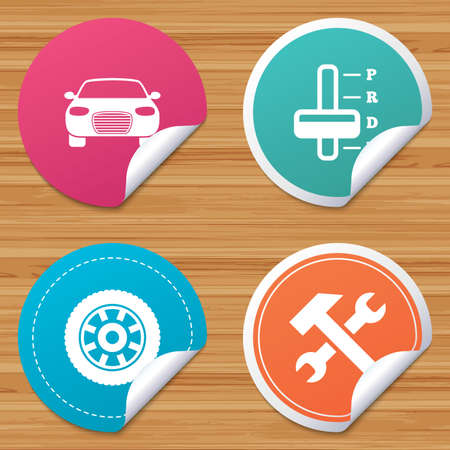 automatic transmission: Round stickers or website banners. Transport icons. Car tachometer and automatic transmission symbols. Repair service tool with wheel sign. Circle badges with bended corner. Vector