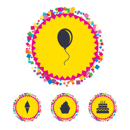 Web buttons with confetti pieces. Birthday party icons. Cake with ice cream signs. Air balloon with rope symbol. Bright stylish design. Vector