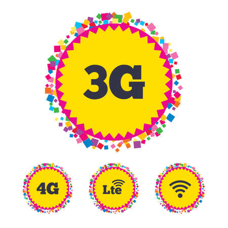 3g: Web buttons with confetti pieces. Mobile telecommunications icons. 3G, 4G and LTE technology symbols. Wi-fi Wireless and Long-Term evolution signs. Bright stylish design. Vector Illustration