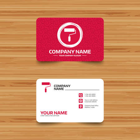 Business card template with texture paint roller sign icon business card template with texture paint roller sign icon painting tool symbol phone colourmoves