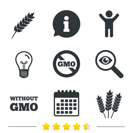 genetically modified crops: Agricultural icons. Gluten free or No gluten signs. Without Genetically modified food symbols. Information, light bulb and calendar icons. Investigate magnifier. Vector