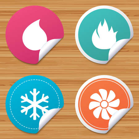bended: Round stickers or website banners. HVAC icons. Heating, ventilating and air conditioning symbols. Water supply. Climate control technology signs. Circle badges with bended corner. Vector
