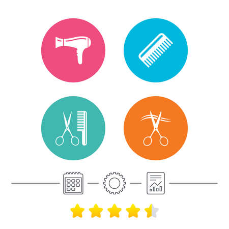 cut hair: Hairdresser icons. Scissors cut hair symbol. Comb hair with hairdryer sign. Calendar, cogwheel and report linear icons. Star vote ranking. Vector Illustration
