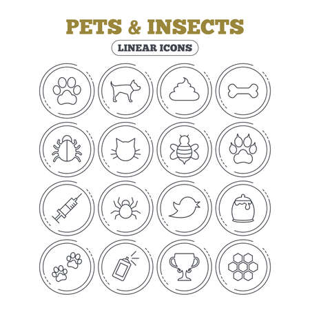 feces: Pets and Insects icons. Dog paw. Cat paw with clutches. Bone, feces excrement and vaccination. Honey, bee and honey comb. Circle flat buttons with linear icons. Vector Illustration