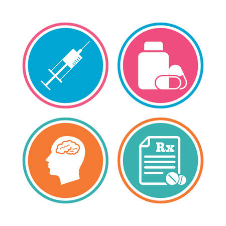 rx: Medicine icons. Medical tablets bottle, head with brain, prescription Rx and syringe signs. Pharmacy or medicine symbol. Colored circle buttons. Vector