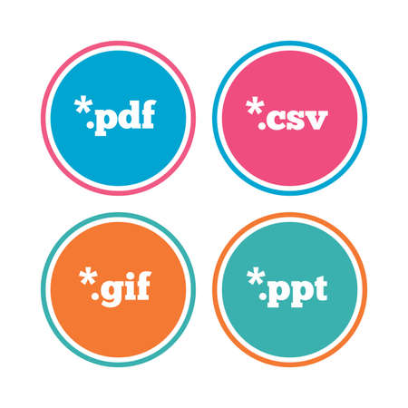 Document icons. File extensions symbols. PDF, GIF, CSV and PPT presentation signs. Colored circle buttons. Vector
