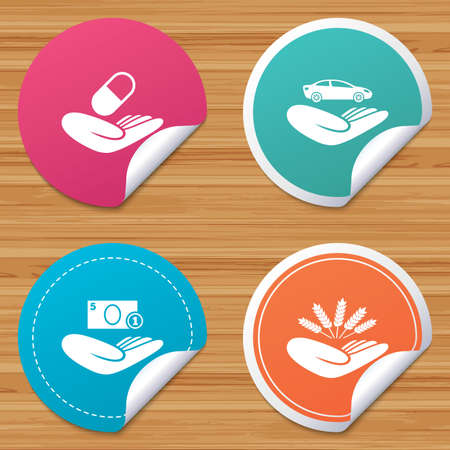 bended: Round stickers or website banners. Helping hands icons. Protection and insurance symbols. Save money, car and health medical insurance. Agriculture wheat sign. Circle badges with bended corner. Vector Illustration