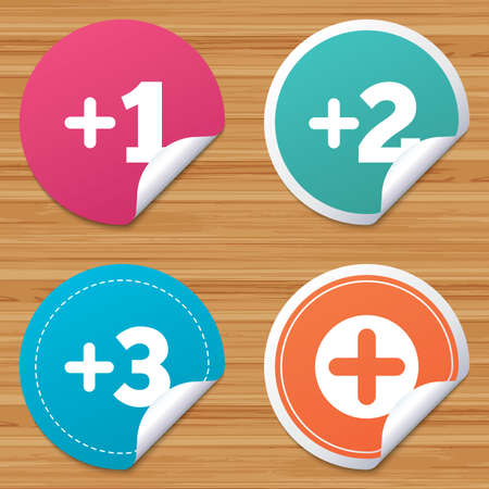 Round stickers or website banners. Plus icons. Positive symbol. Add one, two, three and four more sign. Circle badges with bended corner. Vector