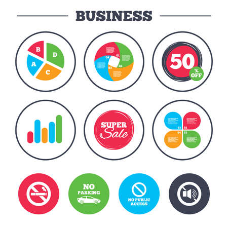 private access: Business pie chart. Growth graph. Stop smoking and no sound signs. Private territory parking or public access. Cigarette symbol. Speaker volume. Super sale and discount buttons. Vector Illustration
