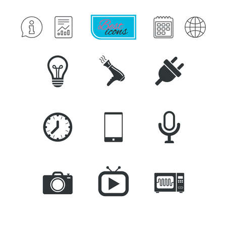 Home appliances, device icons. Electronics signs. Lamp, electrical plug and photo camera symbols. Report document, calendar and information web icons. Vector