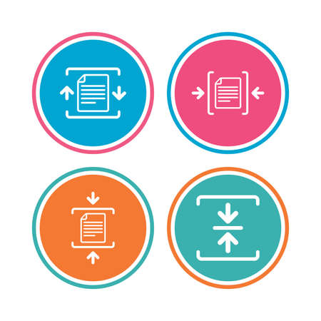 zipped: Archive file icons. Compressed zipped document signs. Data compression symbols. Colored circle buttons. Vector