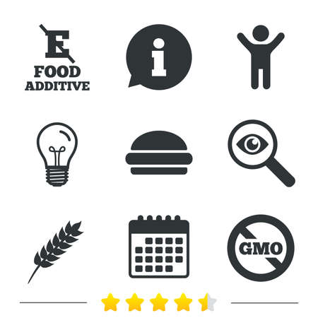 stabilizers: Food additive icon. Hamburger fast food sign. Gluten free and No GMO symbols. Without E acid stabilizers. Information, light bulb and calendar icons. Investigate magnifier. Vector Illustration