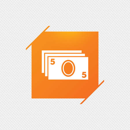 withdrawals: Cash sign icon. Paper money symbol. For cash machines or ATM. Orange square label on pattern. Vector Illustration