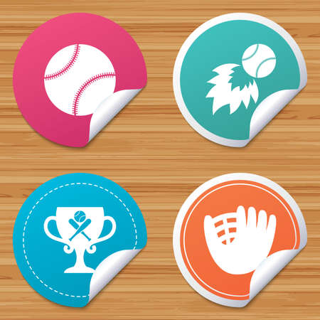 crosswise: Round stickers or website banners. Baseball sport icons. Ball with glove and two crosswise bats signs. Fireball with award cup symbol. Circle badges with bended corner. Vector