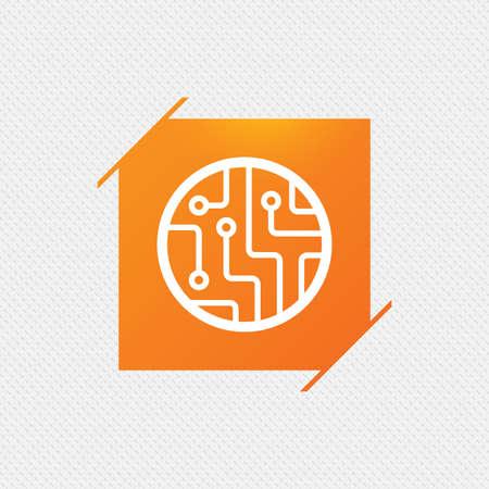 Circuit board sign icon. Technology scheme circle symbol. Orange square label on pattern. Vector