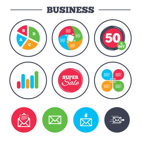 outbox: Business pie chart. Growth graph. Mail envelope icons. Message document delivery symbol. Post office letter signs. Inbox and outbox message icons. Super sale and discount buttons. Vector