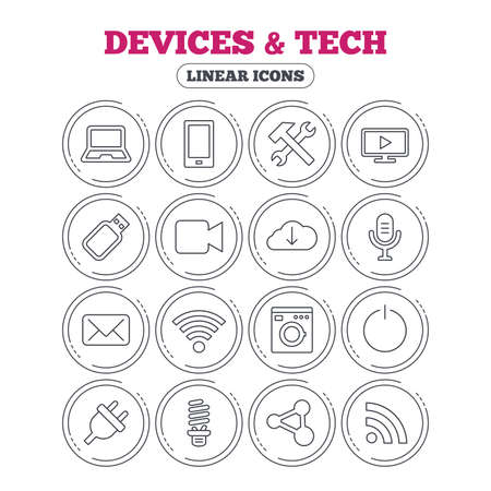laptop repair: Devices and technologies icons. Notebook, smartphone and wi-fi symbols. Usb flash, video camera, microphone thin outline signs. Washing machine, fluorescent lamp and electric plug. Vector