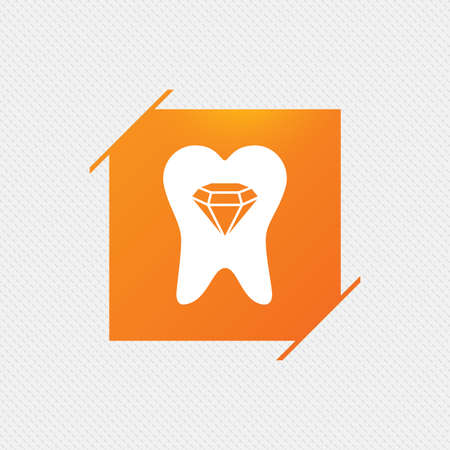 crystal button: Tooth crystal icon. Tooth jewellery sign. Dental prestige symbol. Orange square label on pattern. Vector