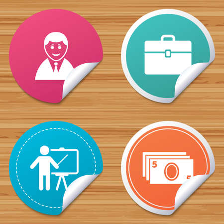 bended: Round stickers or website banners. Businessman icons. Human silhouette and cash money signs. Case and presentation symbols. Circle badges with bended corner. Vector Illustration
