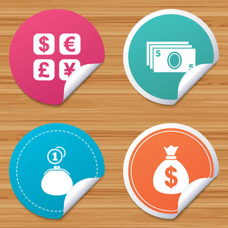 withdrawals: Round stickers or website banners. Currency exchange icon. Cash money bag and wallet with coins signs. Dollar, euro, pound, yen symbols. Circle badges with bended corner. Vector