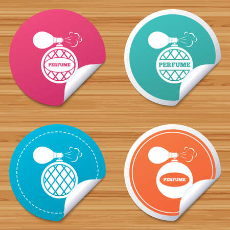 bended: Round stickers or website banners. Perfume bottle icons. Glamour fragrance sign symbols. Circle badges with bended corner. Vector