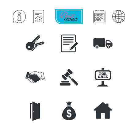 car for sale: Real estate, auction icons. Handshake, for sale and money bag signs. Keys, delivery truck and door symbols. Report document, calendar and information web icons. Vector Illustration