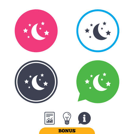 weather report: Moon and stars icon. Sleep dreams symbol. Night or bed time sign. Report document, information sign and light bulb icons. Vector