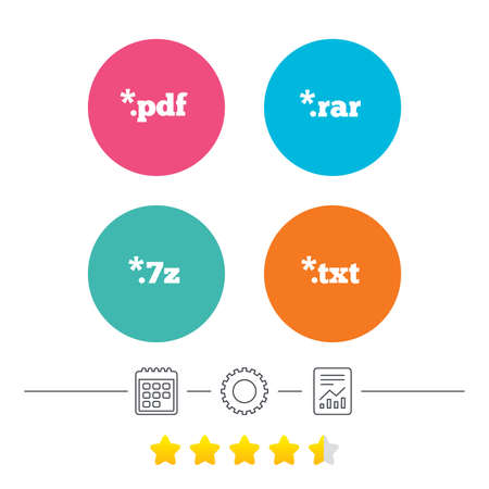 txt: Document icons. File extensions symbols. PDF, RAR, 7z and TXT signs. Calendar, cogwheel and report linear icons. Star vote ranking. Vector Illustration