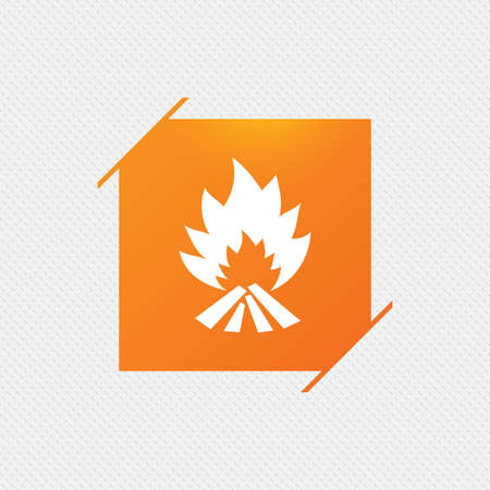 escape: Fire flame sign icon. Heat symbol. Stop fire. Escape from fire. Orange square label on pattern. Vector