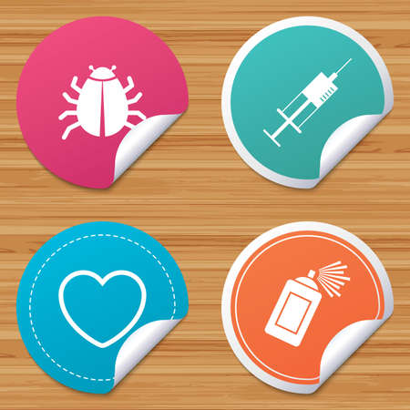 bended: Round stickers or website banners. Bug and vaccine syringe injection icons. Heart and spray can sign symbols. Circle badges with bended corner. Vector