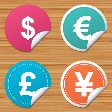 bended: Round stickers or website banners. Dollar, Euro, Pound and Yen currency icons. USD, EUR, GBP and JPY money sign symbols. Circle badges with bended corner. Vector