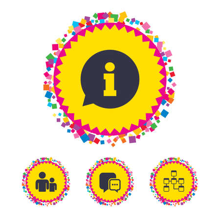 Web buttons with confetti pieces. Information sign. Group of people and database symbols. Chat speech bubbles sign. Communication icons. Bright stylish design. Vector